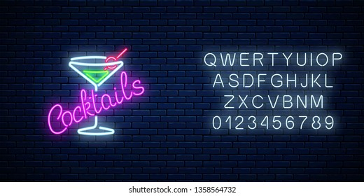 Neon cocktails bar or cafe sign with alphabet on dark brick wall background. Glowing gas advertising with glass of alcohol shake. Drinking canteen banner. Vector illustration.