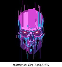 Neon color cyber skull illustration