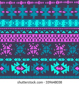 neon color tribal Navajo seamless pattern. aztec grunge abstract geometric art print. ethnic hipster backdrop. Wallpaper, cloth design, fabric, paper, wrapping, textile. hand drawn.