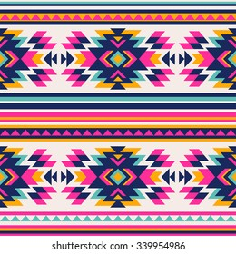 neon color tribal Navajo seamless pattern. aztec abstract geometric art print. ethnic hipster backdrop.  Wallpaper, cloth design, fabric, paper, wrapping, textile.
