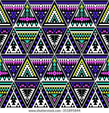 Neon Color Tribal Navajo Seamless Pattern Stock Vector Royalty Free
