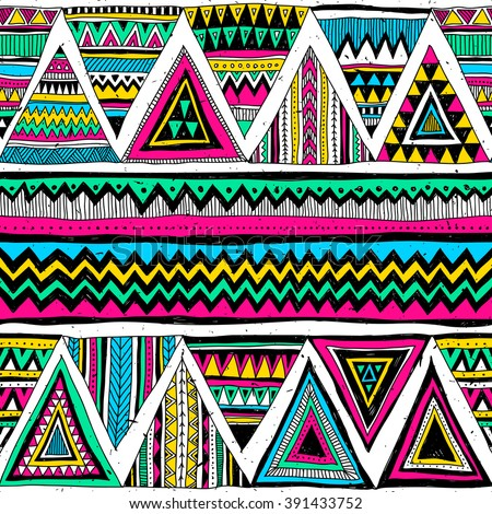 Neon Color Tribal Navajo Vector Seamless Stock Vector Royalty Free