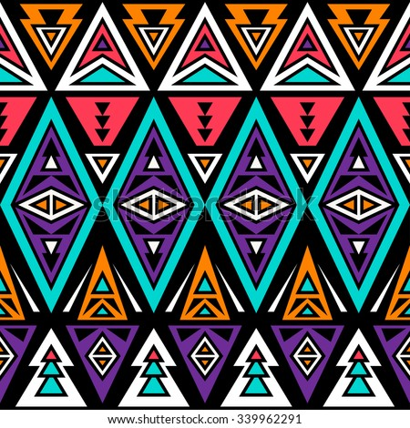 Neon Color Tribal Seamless Pattern Aztec Stock Vector Royalty Free