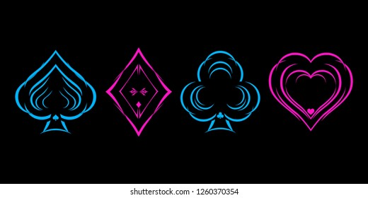 Neon colored symbols deck of cards for playing poker and casino on black background. Vector illustration.