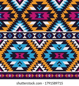 neon colored tribal vector seamless navajo pattern. aztec abstract geometric art ornament print. Ethnic vector background. Wallpaper, cloth design, fabric, tissue,cotton, cover, textile template.