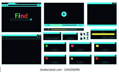 Neon colored web browser window, error message, video player, computer cursors