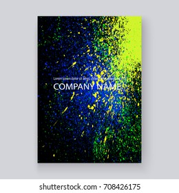 Neon colorful explosion paint splatter artistic covers design. Decorative bright texture splash spray on black backgrounds. Trendy template vector for Cover Report Catalog Brochure Flyer Poster Banner