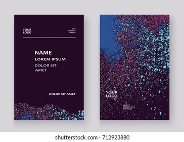 Neon colorful explosion paint splatter artistic covers design. Decorative bright texture splash spray on blue backgrounds. Trendy template vector for Cover Report Catalog Brochure Flyer Poster Banner
