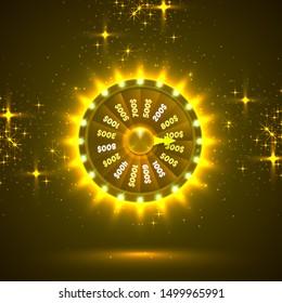 Neon colorful fortune wheel. golden background. Vector illustration