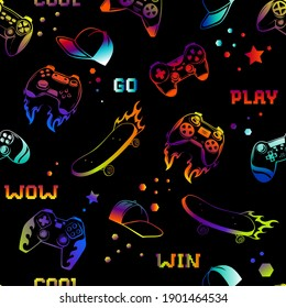 Neon colorful gamepad patter. Play game joystics, cap and skateboard repeat set. Repeated teenagers print for boy clothes, sport textile, wrapping paper.