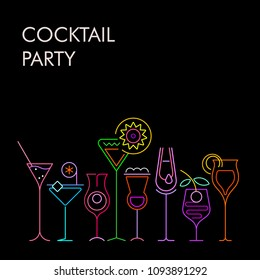 Neon colors isolated on a black background Cocktails vector background. Eight various cocktail glasses and Cocktail Party text.