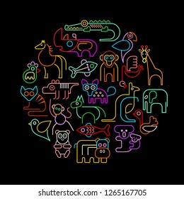 Neon colors isolated on a black background ZOO Animals round shape vector illustration.