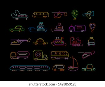 Neon colors isolated on a black background Transport vector icons set. Large collection of neon signs of different transportation modes.