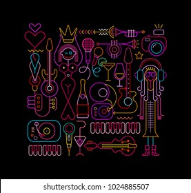 Neon colors on a black background Beauty Pageant vector illustration. Abstract art composition of musical instruments, cocktails, equipments, etc. Beautiful woman holds the crown over her head.