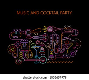 Neon colors on a black background Music and Cocktail Party vector illustration. Art line with musical instruments and cocktail glasses, poster design template.