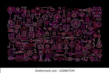Neon colors on a black background Celebration Party vector illustration.