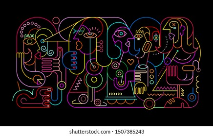 Neon colors on a black background Abstract Portrait of Five Persons vector illustration.