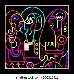 Neon colors on a black background Abstract portrait of three women. Modern fine art vector illustration.