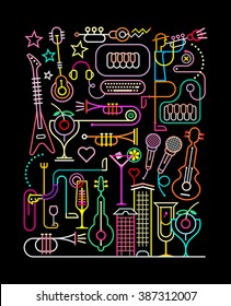 Neon colors on a black background. Karaoke Party vector illustration. Abstract art composition.