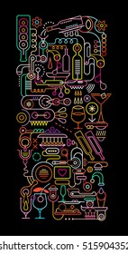 Neon colors on a black background Cocktail Factory vector illustration.