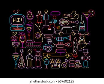 Neon colors on a black background Summer Night vector illustration.