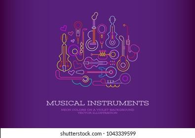Neon colors on a dark violet background Musical Instruments Design vector illustration.