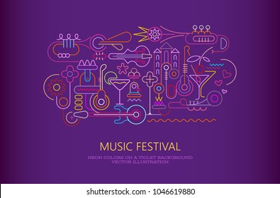 Neon colors on a dark violet background Music and Cocktail Party vector illustration.