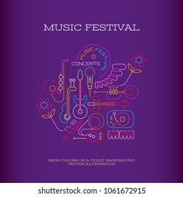Neon colors on a dark violet background Music Festival banner design, vector illustration. Line art with musical instruments, DJ turntable, gramophone and place for text.