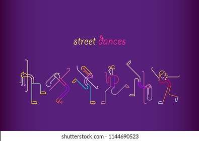 Neon colors on a dark violet background Street Dances vector illustration. Silhouettes of dancing people.