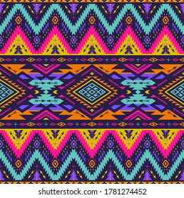 neon colors tribal vector seamless navajo pattern. aztec abstract geometric art ornament print. Ethnic vector background. Wallpaper, cloth design, fabric, tissue,cotton, cover, textile template.