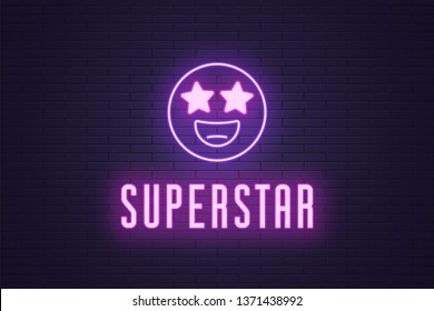 Neon composition of glowing emoji Superstar. Vector glowing illustration of Neon emoji with starry eyes and text Superstar. Bright digital signboard for Entertainment industry. Violet and purple color