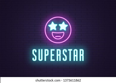 Neon composition of glowing emoji Superstar. Vector glowing illustration of Neon emoji with starry eyes and text Superstar. Bright digital signboard for Entertainment industry. Purple and blue color