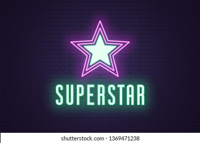 Neon composition of glowing Superstar. Vector glowing illustration of Neon star with text Superstar. Bright digital signboard for Entertainment industry. Green and purple color