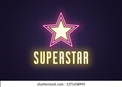 Neon composition of glowing Superstar. Vector glowing illustration of Neon star with text Superstar. Bright digital signboard for Entertainment industry. Yellow and pink color