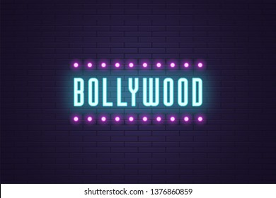 Neon composition of headline Bollywood. Vector illustration of glowing Neon text Bollywood with Lamp frame. Bright digital signboard for Indian Cinema industry. Blue and purple color