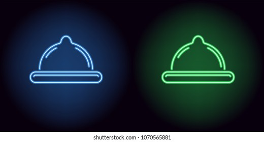 Neon condom in blue and green color. Vector illustration of neon condom consisting of outlines, with backlight on the dark background