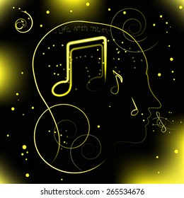 Neon contour of the head on a black background with music notes