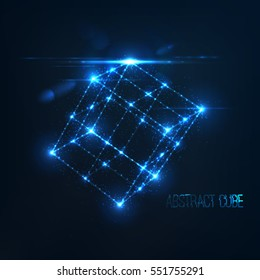 Neon cube in perspective with lens flare and glowing particles . Randomly located flashes of light . Abstract connection . Futuristic vector illustration . Science or technology concept