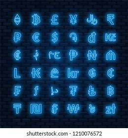Neon currency signs. dollar, euro, pound sterling,yen, yuan, bitcoin, etherium, ruble and others.
