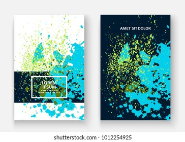 Neon cyan greenery explosion paint splatter artistic cover design. Decorative dust splash gradient texture background. Trendy creative template vector Cover Report Catalog Brochure Flyer Product