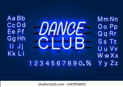 Neon Dance club text banner. Night Sign board. Vector illustration