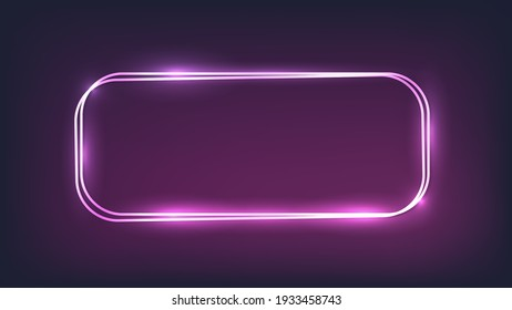 Neon double rounded rectangular frame with shining effects on dark background. Empty glowing techno backdrop. Vector illustration.
