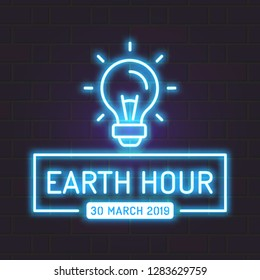 Neon Earth Hour Vector Neon Sign with Wall. Light Symbol Design.