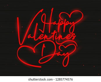 Neon Effect Typography for Happy Valentines Day Vector Illustration with Dark Background.