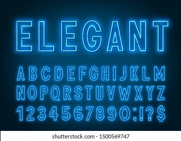 Neon elegant blue font, light alphabet with numbers on a dark background.