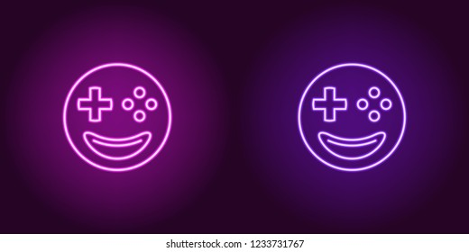 Neon emoji gamer, glowing sign. Vector illustration of emoji player with smile and joystick buttons instead of eyes in neon style, purple and violet colors. Glowing icon and symbol for Cyber sport.