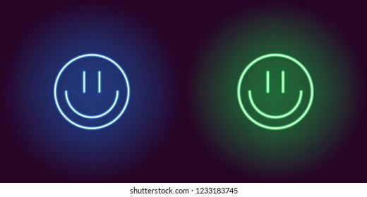 Neon emoji with smile, glowing sign. Vector illustration of cartoon emoji smile in neon style, blue and green colors. Glowing funny emoticon and symbol for Fun