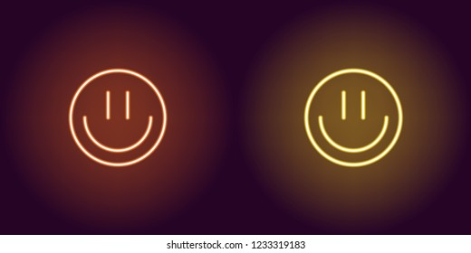 Neon emoji with smile, glowing sign. Vector illustration of cartoon emoji smile in neon style, orange and yellow colors. Glowing funny emoticon and symbol for Fun