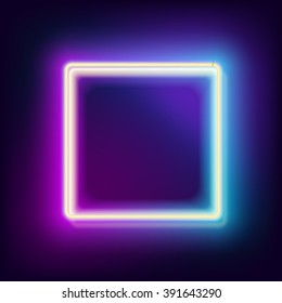 Neon e-square, glowing frame with light blue and lilac color with empty place for your text, vector illustration