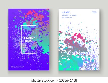 Neon explosion paint holographic splatter artistic cover design. Fluid blue gradient dust splash texture background. Trendy creative template vector Cover Report Catalog Brochure Flyer Product